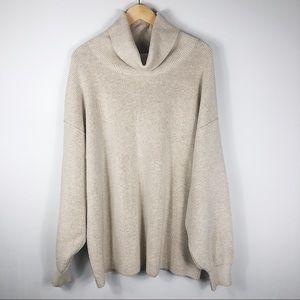 Free People cream cowl neck oversized sweater